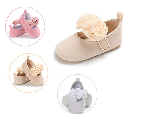 DEBAIJIA Baby Girl Princess Shoes Toddler Lovely Spring Flower Bowknot Heart Spot Pattern Crown Lace Soft Sole Anti-Slip Leather Fashion Casual Suitable for 6-18 Months Infant Magic Tape