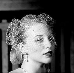Bird Cage Style Veil - Ivory with Added Crystals