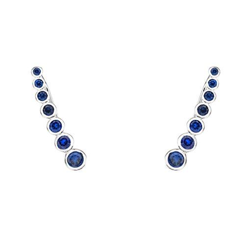 EVER FAITH 925 Sterling Silver Cubic Zirconia Simple Row Ear Cuff Wrap Sweep Hook Earrings Blue 1 Pair