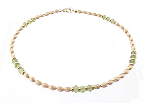 DAMALI Gold-Filled Ankle Bracelets Peridot Beaded August Birthstone Jewelry -