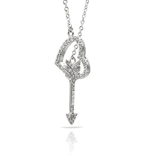Dangling Pave Necklace (Sterling Silver Lariat Pendant Necklace with CZ Crystal Pave Open Heart and Dangling Arrow Charm, Rhodium Plated 925 Silver, Adjustable Chain Length 16