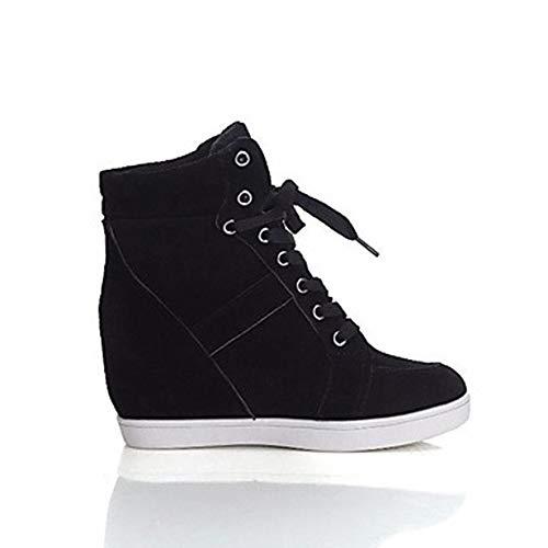 Basket Confort Chaussures TTSHOES CN40 Semelle Compensée 5 De Bout Noir Toile Femme EU39 Rouge UK6 Rond US8 5 Hauteur Printemps Black qwX5x5ArI