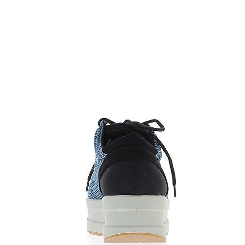 Sneakers donna blu e nera nido suole spesse ape