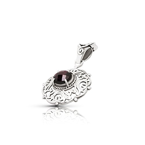 Koral Jewelry Garnet Round Stone Lace Pendant Sterling Silver 925 Ethnic Vintage Look