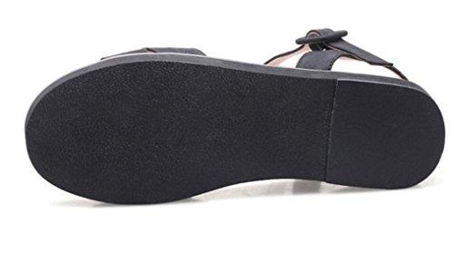 SHFANG Sandalias de las señoras Verano Confortable Flat Bottom Universidad Viento Ocio Estudiantes 33-41 Cuatro colores 5cm Black