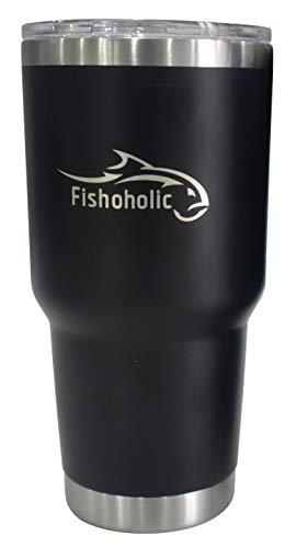 Fishoholic 30oz Tumbler matte BLACK Double Wall Vacuum Insulated Stainless Steel Fishing mug w 2 Laser Engraved Logos. Great Gift. Fish River Lake Saltwater Fishaholic (R) TM beer cup cooler pint mug
