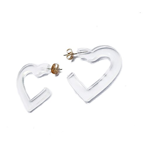 (New Arrival Creative Transparent Acrylic Material Exaggerated Heart Shape Candy Colors Women/Girl's Charm Earrings Ear Studs(3cm) (Clear(3cm)))