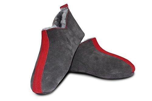 Heitmann Pantofole In Pelle Di Agnello 100% Pantofole In Pelle Da Donna E Da Uomo Color Antracite Rosso / Verde Taglia 36-46 (38, Antracite-rosso)