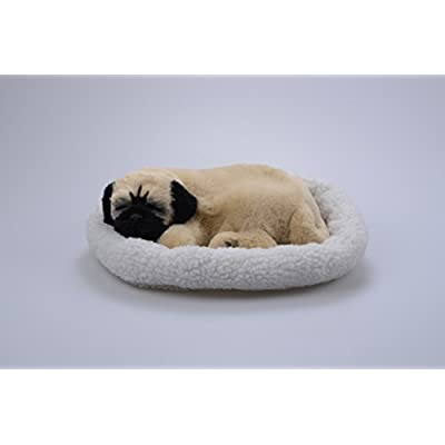 LIBLO -- Lifelike Breathing Sleeping Pug Dog 26x18x10cm with Mat Wydog001 Electronic Pet Dog Toy (Color 2): Toys & Games