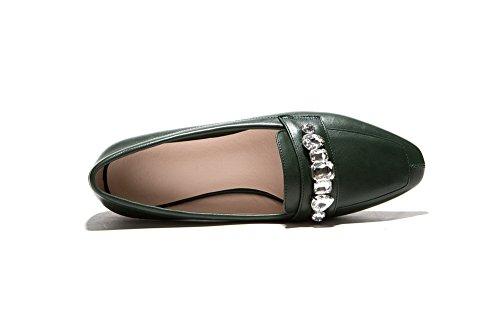 AllhqFashion Mujeres Slip-on Puntera Cuadrada Material Suave PU Bailarinas Verdeoscuro