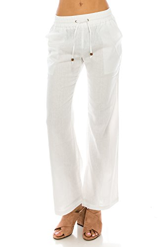 Me in California Women's Plus Size Comfy Drawstring Band Waist Linen Pants with Pockets White X-Large LP1001 (Best Nude Beaches In California)