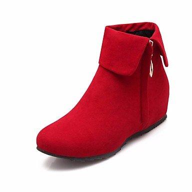 Botas de la mujer Confort Casual Primavera pu Rojo Negro gris plana Black