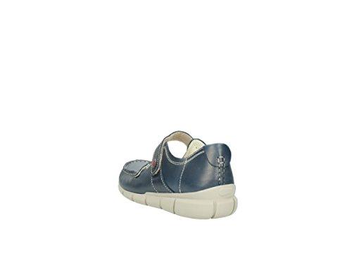 Mocassini In Lana Yukon Con Velcro In Pelle Blu 80870
