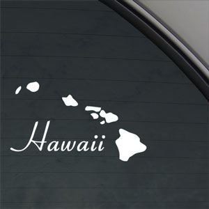 Hawaii Island Aloha White Sticker Decal Car Window Wall Macbook - Window decals amazon
