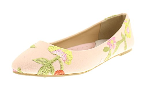 Floral Leather Heels (Gold Toe Women's Lois Dressy Floral Embroidered Ballet Flat Pump No Heel Pointed Toe Slip On Comfort Shoe Pink 9 US)