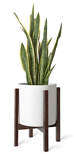 Mkono Plant Stand Mid Century Wood Flower Pot Holder Indoor Potted Rack Modern Home Decor, Up to 10 Inch Planter (Plant and Pot NOT Included), Dark Brown Square - Brown Square Pot