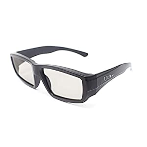5 Pairs of Black Adults Passive 3D Glasses universal in a wraparound style for all Passive TVs Cinema and Projectors such as RealD Toshiba LG Panasonic and more