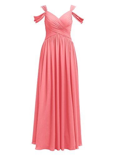 Alicepub Robe De Demoiselle D'honneur Maxi En Mousseline De Soie Plissée Robes Longues De Soirée De Fête De Mariage De Corail Rose