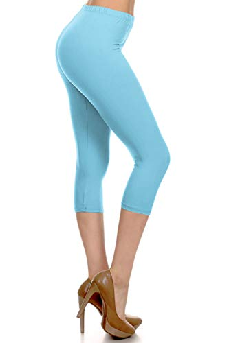NCPRX128-SKYBLUE Capri Solid Leggings, Plus Size