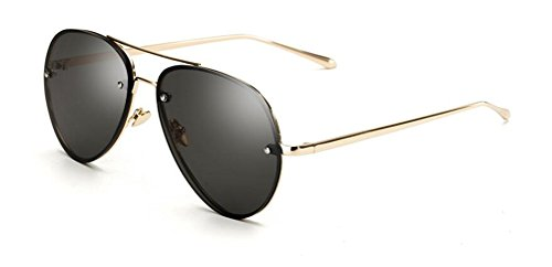 Discount Rimless Eyeglasses - GAMT Aviator Sunglasses for Women Metal Frame Eyeglasses Gold-Gray