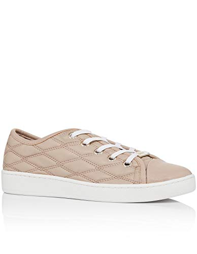 DKNY Womens Brayden Binding Court Sneaker Leather Low Top Lace Up, Tan, Size 9.5