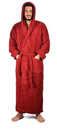 Hooded Turkish Cotton Robes - Arvec Men's Combed Turkish Cotton Terry Full Ankle Length Hooded Bathrobe (Medium/Large, Burgundy)