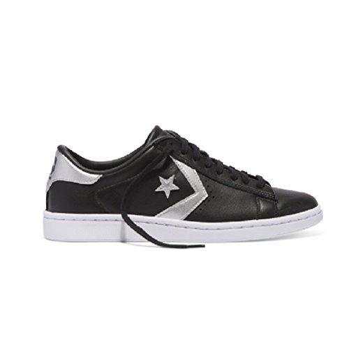Converse Pro Leather Lp Ox Mens Scarpe Da Skateboard 558268c Nero / Argento / Bianco