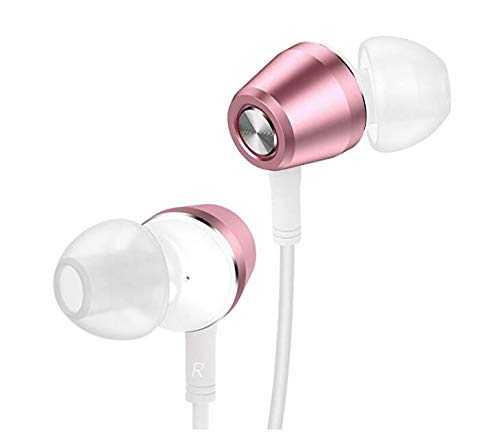 (2 Pack) Aux Headphones/Earphones/Earbuds, 3.5mm Wired Headphones Noise Isolating Earphones with Built-in Microphone & Volume Control-Z-EB-CH11-pink