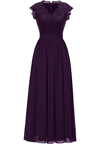 Dressystar 0050 V Neck Sleeveless Lace Bridesmaid Dress Wedding Party Gown M Grape