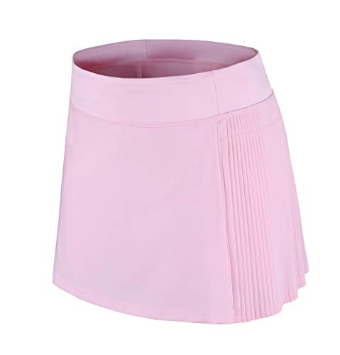 HonourSport Women School Pleated Tennis Skirt with Pockets Light Pink(Half Pleated) US10
