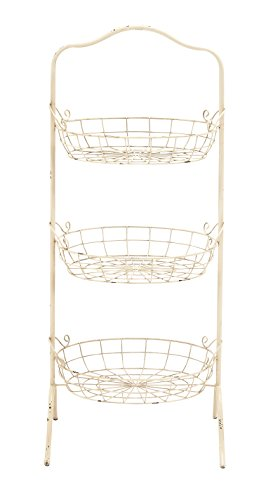 "Deco 79 42514 Metal Rack Storage Basket, 17"" W/42 H - Suitable to use as a decorative item Unique home decor This product is manufactured in China - living-room-decor, living-room, baskets-storage - 31L9SM2b aL -"
