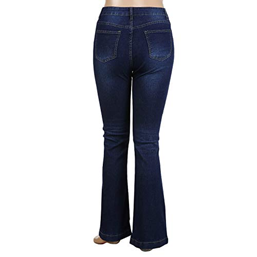 la Femme Bleu Vintage Evas Pattes dlphant Mode Jean Slim Boutonn Bas Pants Fonc Haute Lisli Pantalon Taille 5ZqOgw