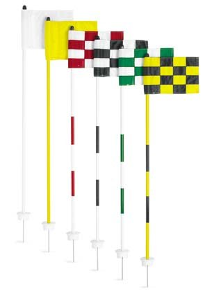 Cupless Jr. Flagstick Practice Green Marker / Checkered Flag Sets (Black/Yellow) - Set of 9