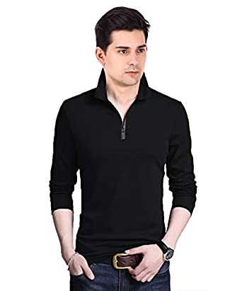 V3Squared Polo Neck Full Sleeve Cotton Solid Regular Fit T Shirt for Men