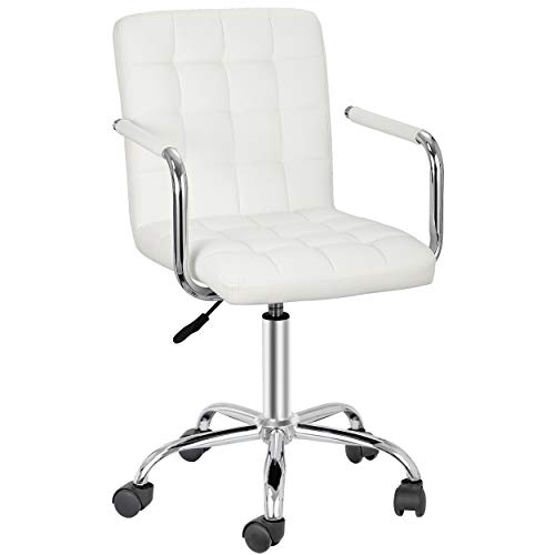 SUPER DEAL Modern Mid-Back Desk Office Chair with Wheels – Height Adjustable Armrests 360° Swivel Home Computer Task Chair (1, White)