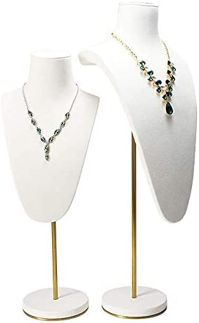 ZYL-YL ジュエリーネックレスの表示は、金属肖像首のネックレスの宝石類の表示は白ウィンドウ表示ジュエリー収納ディスプレイ小道具をラックスタンド(カラー:ホワイト、サイズ:5x58x22.5cm)