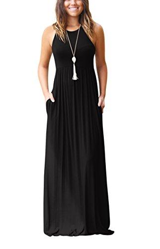 ZIKKER Women's Sleeveless Racerback Loose Plain Maxi Dresses Casual Long Dresses with Pockets