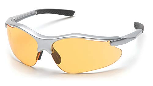Pyramex Fortress Safety Eyewear, Mango Lens With Silver Frame