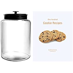 2.5 Gallon Cookie Jar, with Black Metal Airtight Lid, Anchor Hocking Canister Montana (One Hundred FREE Cookie Recipes Included)