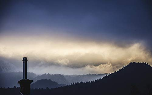 Home Comforts Canvas Print View Mountains Landscape Chimney Fog Hut Clouds Vivid Imagery Stretched Canvas 32 x 24