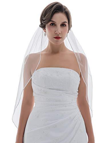 "1T 1 Tier 1/8"" Ribbon Edge Wedding veil - White Elbow Length 30"" V097"