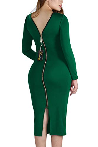 YMING Sexy Green Dresses for Women Plus Size Party Dress Midi Bodycon Dress 2XL ()