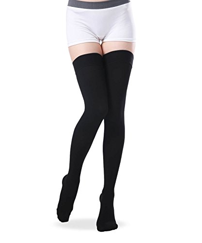 Thigh High Closed Toe Compression Stockings, Firm Support 20-30 mmHg Medical Gradient Compression Socks with Non-Slip Silicone Band for Women - Medical Support Hose (Black, X-Large)