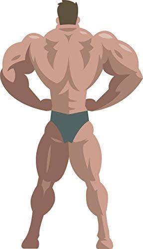 Amazon Com Fit Muscular Body Builder Fitnesss Inspiration Muscle Man Cartoon Emoji Vinyl Sticker 2 Tall Rear Lat Spread Automotive