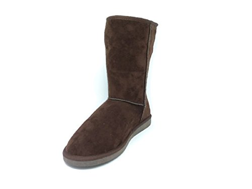 Women's Suede Mid Calf Warm Winter Bootie Boots (10, Coffee)