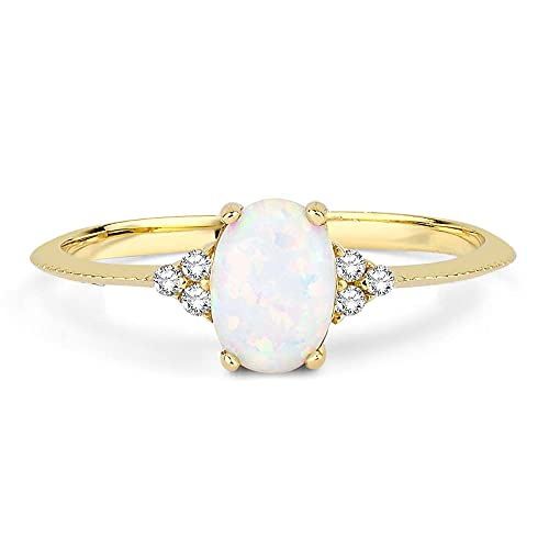14k Solid Gold Natural Opal Stacking Diamond Ring, October Birthstone Ring, Oval Cut Solitaire GenuineOpal Ring, Diamond Gold Opal Halo Promise Ring for Women (Material, 14k Solid Gold)