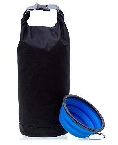- JSD Works Dog Food Storage Container - Travel Bag Perfect for Your Dog Food Holds 8 Pounds of Kibble - Includes Large Collapsible Dog Bowl. Serves as Perfect Travel Kit for Pets