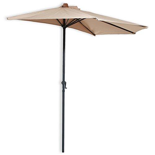Sonnenschirm halb für die Wand beige halber Sonnenschirm Schirm 270 cm m Kurbel