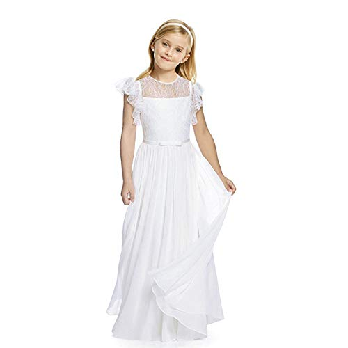 AbaoSisters Flutter Sleeves A-Line Flower Girl Dress White Size 6 ()