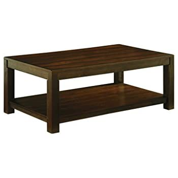 Ashley Furniture Signature Design   Grinlyn Coffee Table   Cocktail Height  With Lower Shelf   Rectangular   Rustic Brown